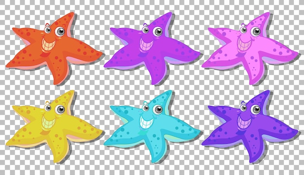 Conjunto de muchos personajes de dibujos animados de estrellas de mar sonrientes aislado en transparente