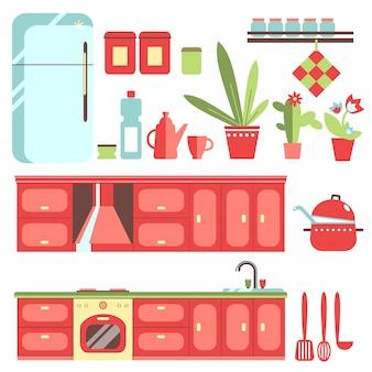 Conjunto de muebles de cocina.