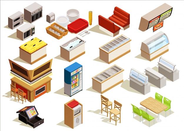 Conjunto de muebles de comida rápida