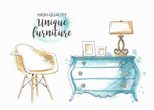 Conjunto de muebles dibujados a mano y detalle interior.
