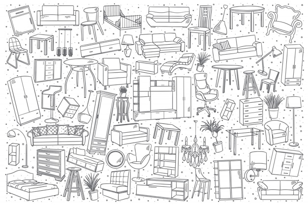 Conjunto de muebles dibujados a mano.