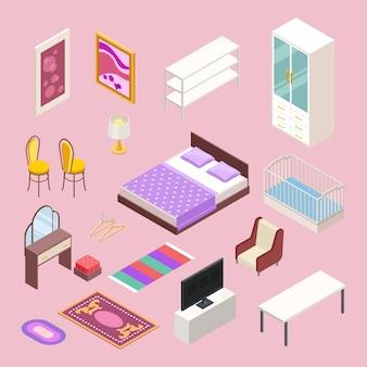 Conjunto de muebles de dormitorio isométrico