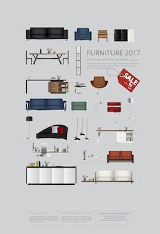 Conjunto de muebles de ilustración vectorial de sofá