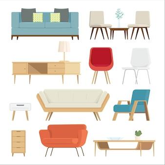 Conjunto de muebles de interior y accesorios para el hogar.