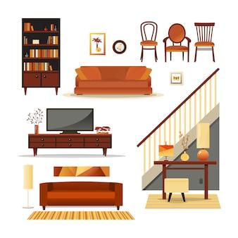 Conjunto de muebles de interior retro.