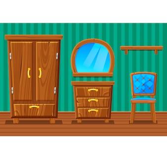 Conjunto de muebles de madera divertidos dibujos animados, sala de estar