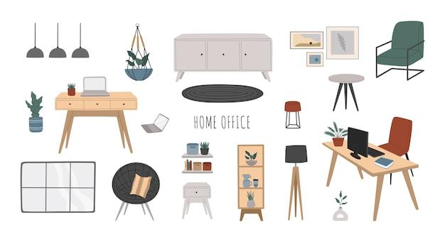 Conjunto de muebles de oficina en casa interior de estilo escandinavo moderno