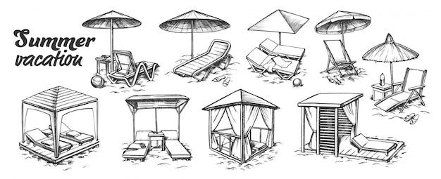 Conjunto de muebles de playa para vacaciones de verano
