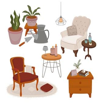 Conjunto de muebles de sala y elementos de jardín.
