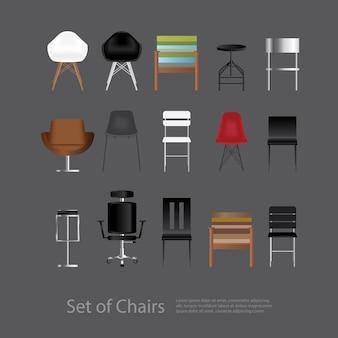 Conjunto de muebles de silla ilustración vectorial