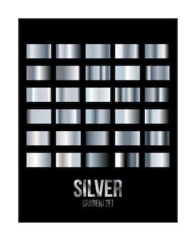 Conjunto de muestra de textura degradado de metal plateado aislado en negro