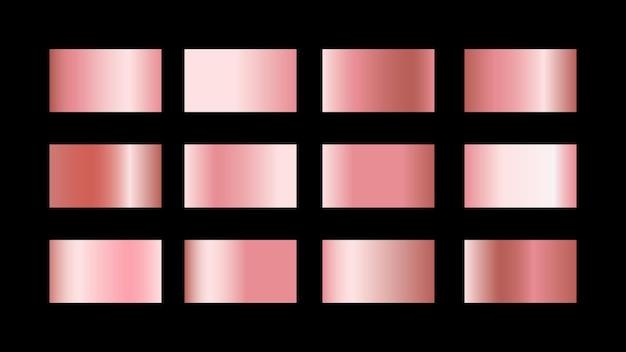 Conjunto de muestras de color degradado de oro rosa aisladas sobre fondo negro para un estilo de diseño gráfico metálico