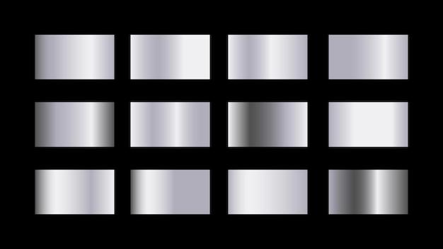 Conjunto de muestras de color degradado plateado aislado sobre fondo negro para diseño decorativo metálico