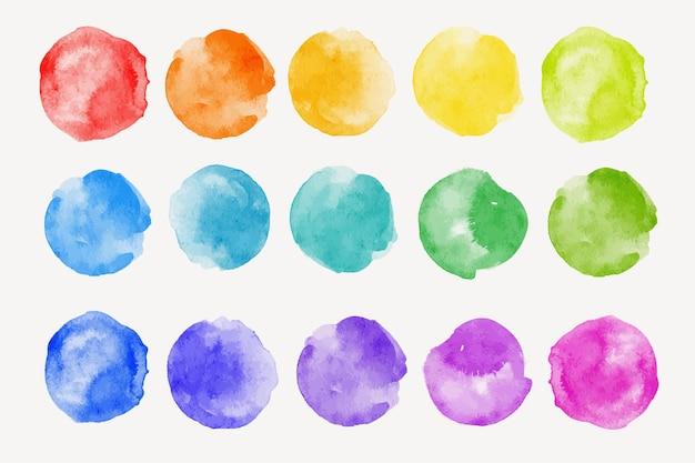 Conjunto de muestras de colores del arco iris pincel de acuarela