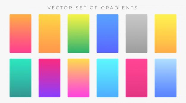 Conjunto de muestras de gradientes de colores vibrantes
