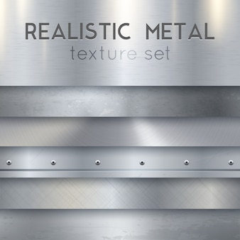 Conjunto de muestras horizontales realistas de textura de metal
