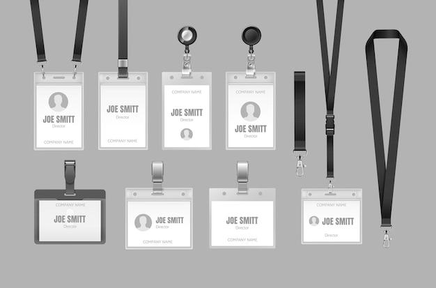 Conjunto de muestras de insignias de plástico realistas para presentaciones o visitantes de conferencias