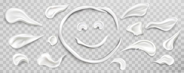 Conjunto de muestras de manchas de crema blanca. producto cosmético