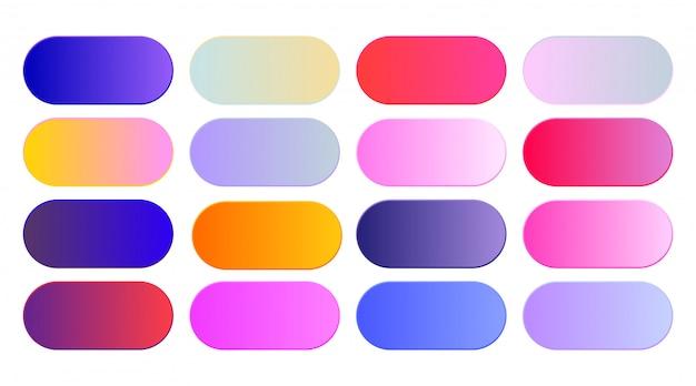 Conjunto de muestras o botones de gradientes vibrantes