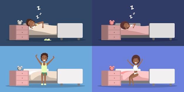 Conjunto de mujer afroamericana y hombre durmiendo en la cama y despertando de buen humor. descansar en el dormitorio y despertar por la mañana. ilustración vectorial plana