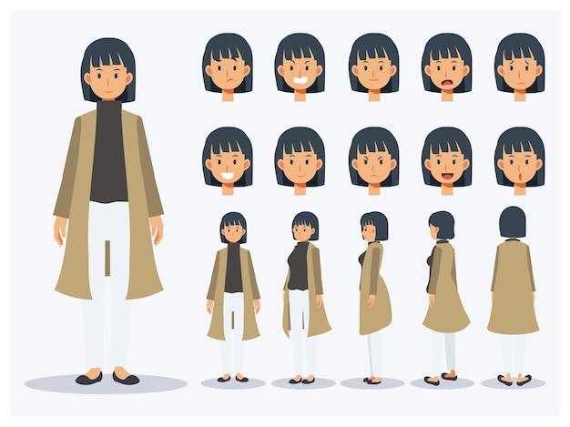 Conjunto de mujer de carácter vectorial plano usar ropa casual con varios puntos de vista, estilo de dibujos animados.