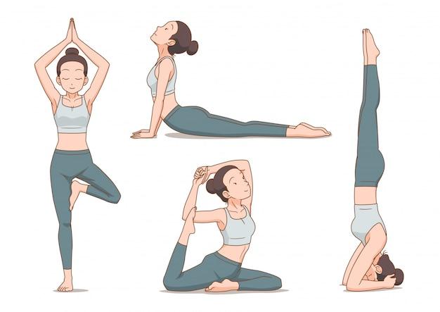 Conjunto de mujer de dibujos animados en posturas de yoga.