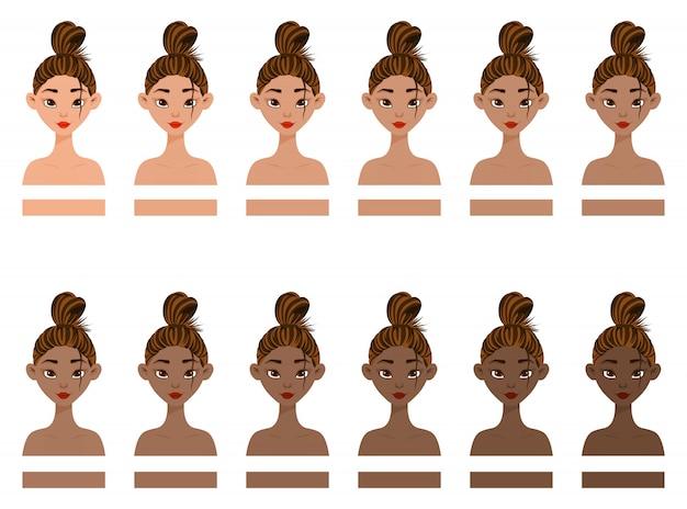 Conjunto con mujer con diferentes colores de piel de claro a oscuro. estilo de dibujos animados ilustración vectorial