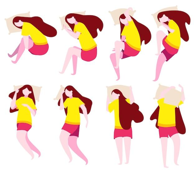 Conjunto de mujer duerme en diferentes posiciones. personaje femenino