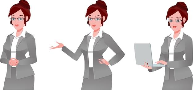 Conjunto de mujer ejecutiva de negocios