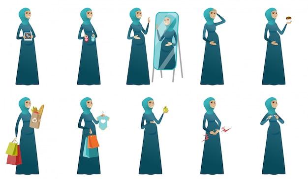 Conjunto de mujer embarazada musulmana