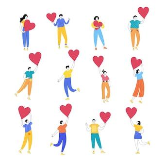 Conjunto de mujer feliz y hombre con corazones. el concepto de voluntariado o relación romántica.