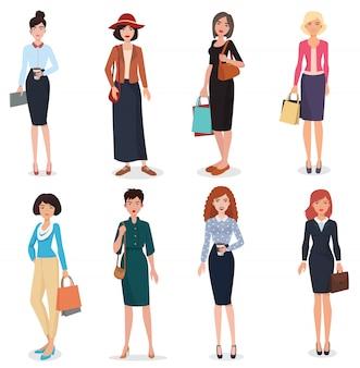 Conjunto de mujer hermosa adultos de dibujos animados