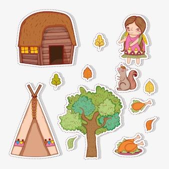 Conjunto mujer indígena con hojas de otoño y casa.