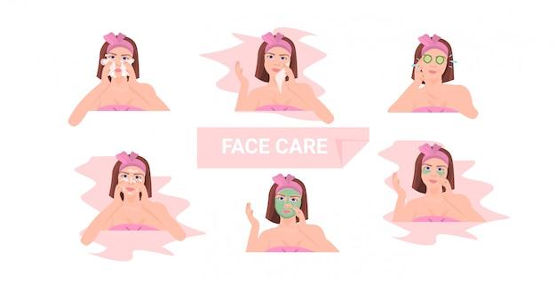 Conjunto de mujer joven aplicando diferentes mascarillas de arcilla