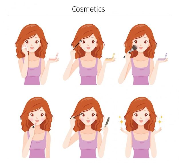 Conjunto de mujer joven se maquilla con variedad de cosméticos