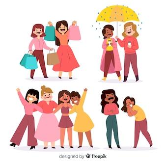 Conjunto de mujer joven pasar tiempo juntos
