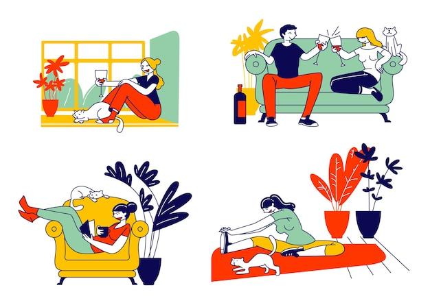 Conjunto de mujer joven y su gato. ilustración plana de dibujos animados