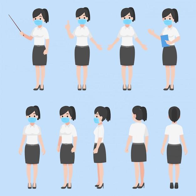 Conjunto de mujer maestra en nueva vida normal con una mascarilla. diseño de personajes en varias acciones concepto de atención médica plana de dibujos animados.