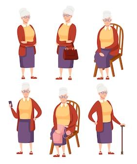 Conjunto de mujer mayor en ropa casual. mujeres mayores en diferentes situaciones. abuela de pie. diseño de personajes de dibujos animados. ilustración plana aislada sobre fondo blanco.
