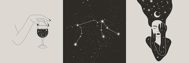 Conjunto de mujer mística y luna, estrellas, manos con una copa de vino, constelaciones de acuario en estilo boho. ilustraciones vectoriales para arte de pared y camisetas impresión, tatuaje, publicaciones en redes sociales e historias