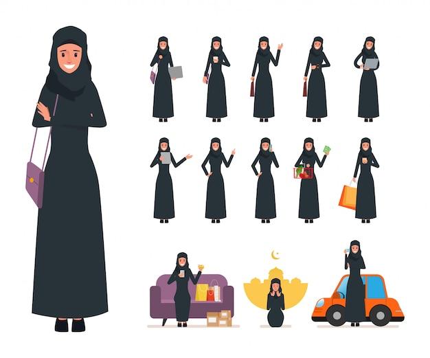 Conjunto de mujer musulmana árabe en el trabajo de estilo de vida diario.