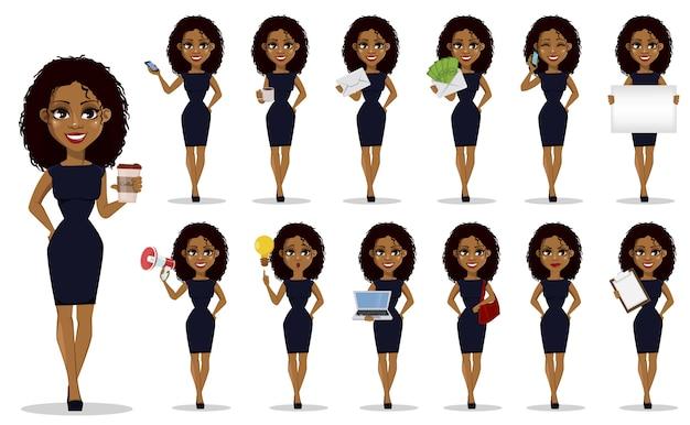 Conjunto de mujer de negocios afroamericano