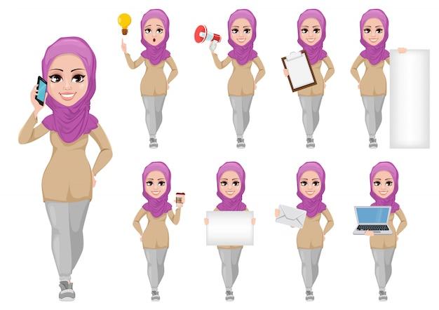 Conjunto de mujer de negocios árabe