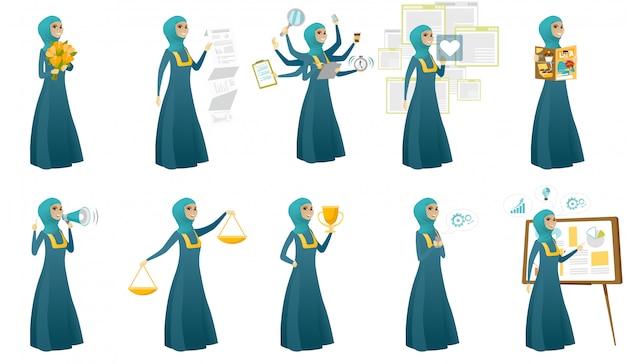 Conjunto de mujer de negocios musulmán