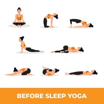 Conjunto de mujer en posturas de yoga