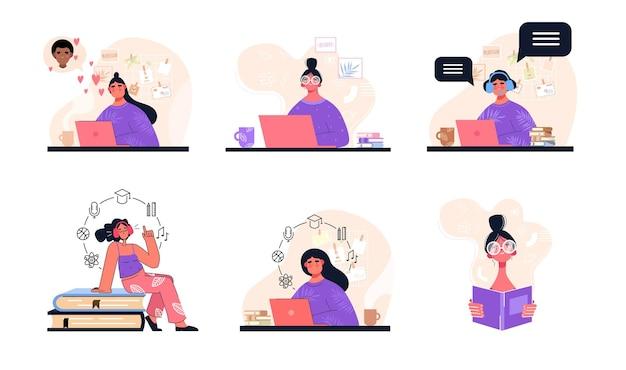 Conjunto de mujer en trabajo remoto