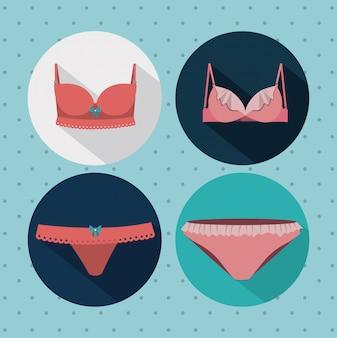Conjunto de mujer de traje de baño, ilustración vectorial