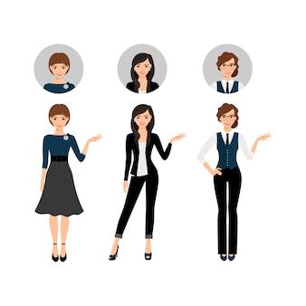 Conjunto de mujeres adultas de negocios