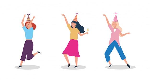 Conjunto de mujeres bailando con sombrero de fiesta.