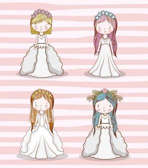 Conjunto de mujeres de boda con vestido y peinado.